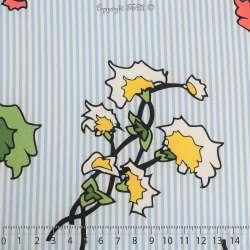 Microfibre Élasthanne Imprimé Motif Fleurs Dessinées Fond Rayures Ciel - Photo 15x15 Cm