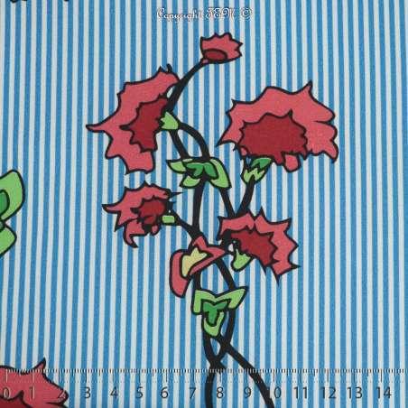 Microfibre Élasthanne Imprimé Motif Fleurs Dessinées Fond Rayures Bleu - Photo 15x15 Cm