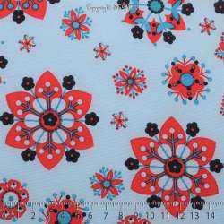 Microfibre Imprimé Motifs Fleurs Hexagonales Rouge Fond Indigo Clair - Photo 15x15 Cm