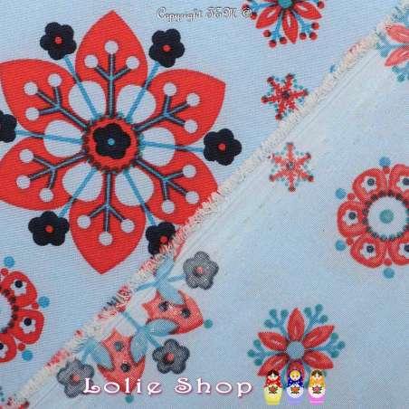Microfibre Imprimé Motifs Fleurs Hexagonales Rouge Fond Indigo Clair - Envers