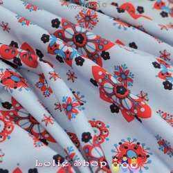 Microfibre Imprimé Motifs Fleurs Hexagonales Rouge Fond Indigo Clair