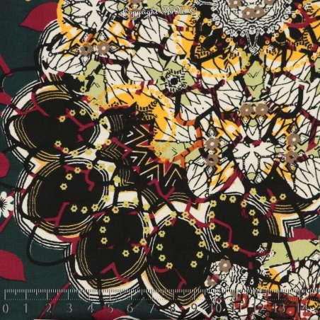 Microfibre Imprimé Motifs idéogramme Fleurs Superposées Ton Vert - Photo 15x15 Cm
