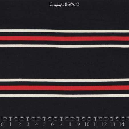 Microfibre Imprimé Motifs Rayures Rouge et Blanc Fond Marine