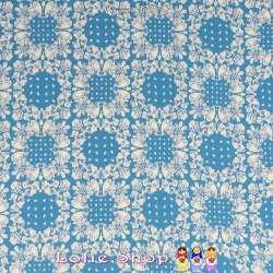 Microfibre Imprimé Motifs Paisley Blanc Fond Bleu Roi