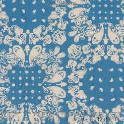 Microfibre Imprimé Motifs Paisley Blanc Fond Bleu Roi - Photo 15x15 Cm