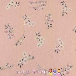 Jersey Imprimé Motif Petites Fleurs Fond Rose