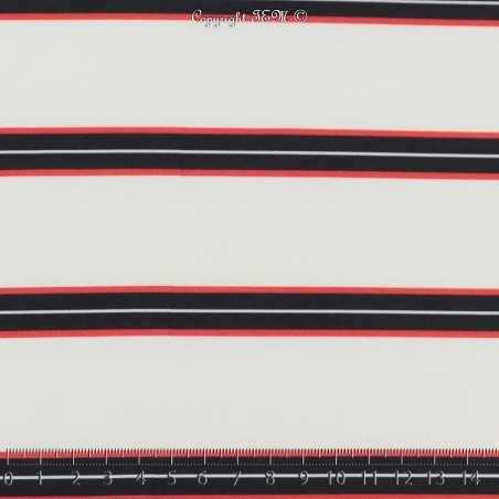 Microfibre Imprimé Motifs Rayures Rouges & Marine Fond Blanc - Photo 15x15 Cm
