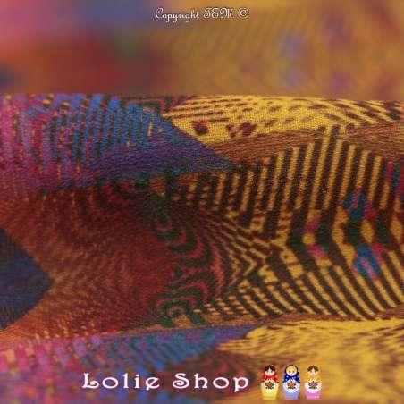 Crêpe Imprimé Motif Graphique Kaléidoscope Ton Foncé
