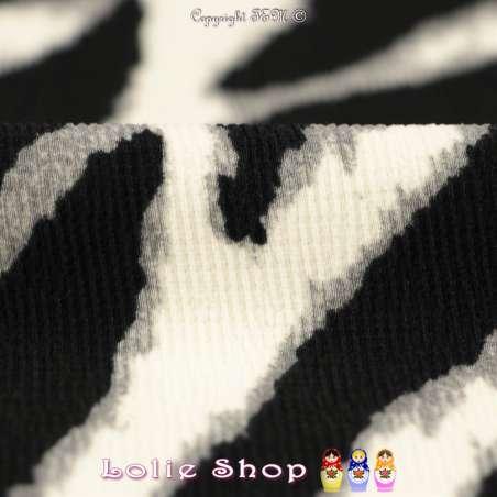 Double Crêpe Lourd Élasthanne Motif Zébré Couleur Noir