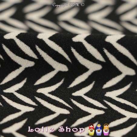 Jersey Crêpé Imprimé Motif Noir & Blanc