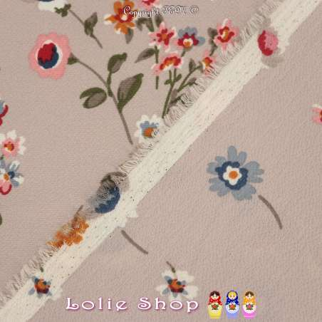 Double Crêpe Imprimé Motif Fleurs Fond Rose Mountbatten
