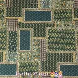 Jersey Cristal Maillot Venezia Imprimé Motif Patchwork Ton Vert