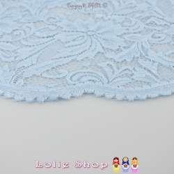 Dentelle Nocturne Motif Fleurie Festonnée Couleur Bleu Ciel