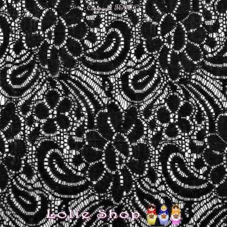 Dentelle Bloquée ANTONELLE Motif Fleurs Couleur Noir - Photo 15x15 Cm
