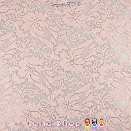 Dentelle NOCTURNE Motif Fleurie Festonnée Couleur Rose Poudré