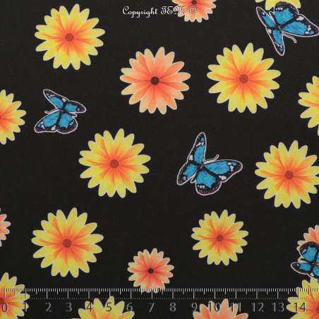 Microfibre Imprimé Motifs Fleurs et Papillons Sur Fond Noir - Photo 15x15 Cm