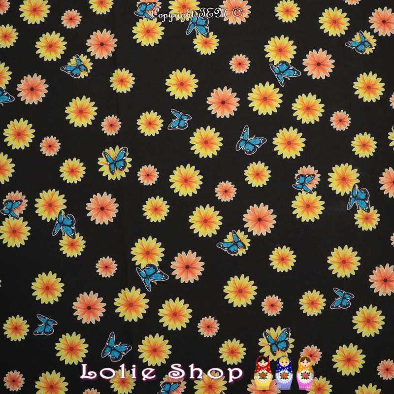 Microfibre Imprimé Motifs Fleurs et Papillons Sur Fond Noir