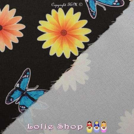 Microfibre Imprimé Motifs Fleurs et Papillons Sur Fond Noir - Envers