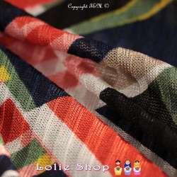 Maille Jersey Côte ARMELLE Motif Graphique Ton Kaki & Corail