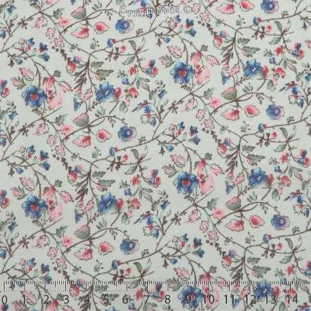 Crêpe Georgette Imprimé Fleurs Bleu Fond Blanc Cassé - Photo 15x15 Cm