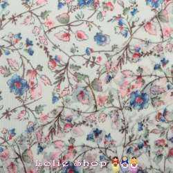 Crêpe Georgette Imprimé Fleurs Bleu Fond Blanc Cassé - Envers