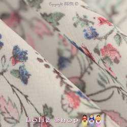 Crêpe Georgette Imprimé Fleurs Bleu Fond Blanc Cassé