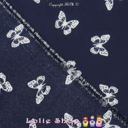 Crêpe Imprimé Motif Papillons De Couleur Blanc Fond Bleu Marine