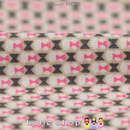Jersey Viscose Imprimé Modèle Petit Nœud Papillon Fond Beige