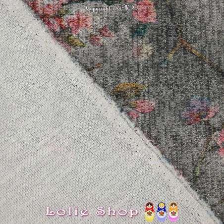 Jersey Sweat HARDY Chiné Lurex Imprimé Fleurs Fond Gris