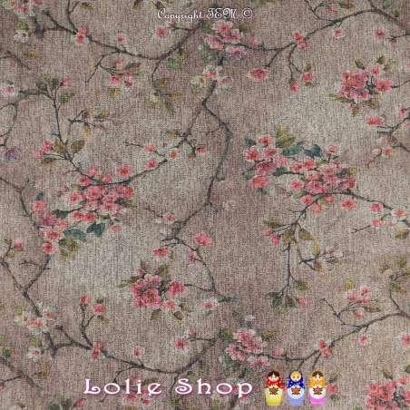 Jersey Sweat HARDY Chiné Lurex Imprimé Fleurs Fond Gris/Beige