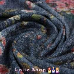Jersey Sweat HARDY Chiné Lurex Imprimé Fleurs Fond Bleu Jeans