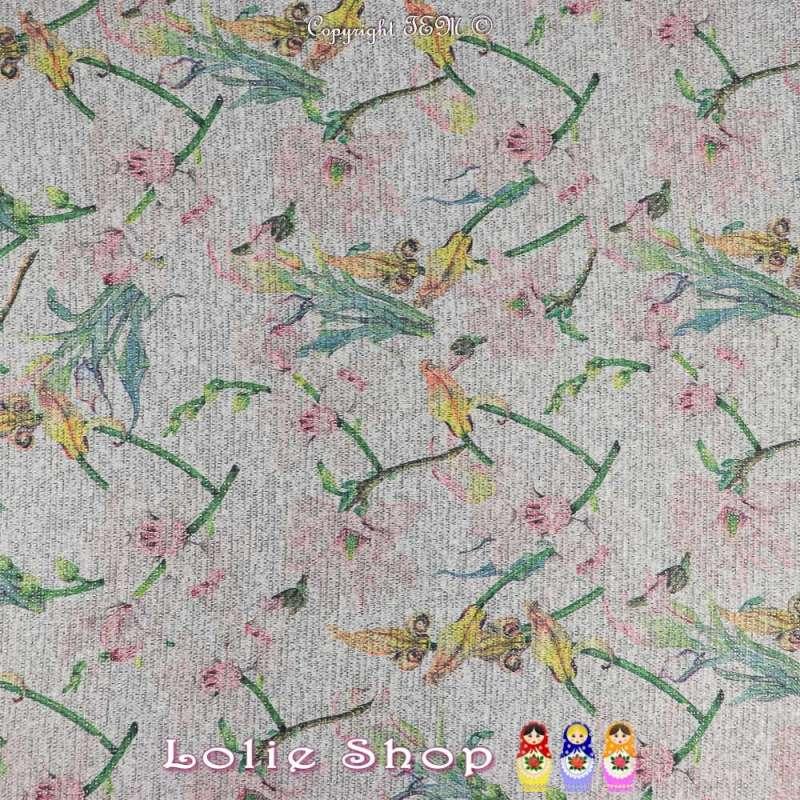 Jersey Sweat HARDY Chiné Lurex Imprimé Fleurs De Courgette Fond Gris Clair