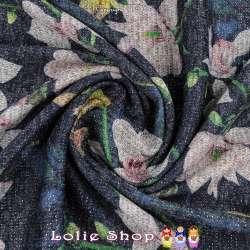 Jersey Sweat HARDY Chiné Lurex Imprimé Fleurs De Courgette Fond Bleu