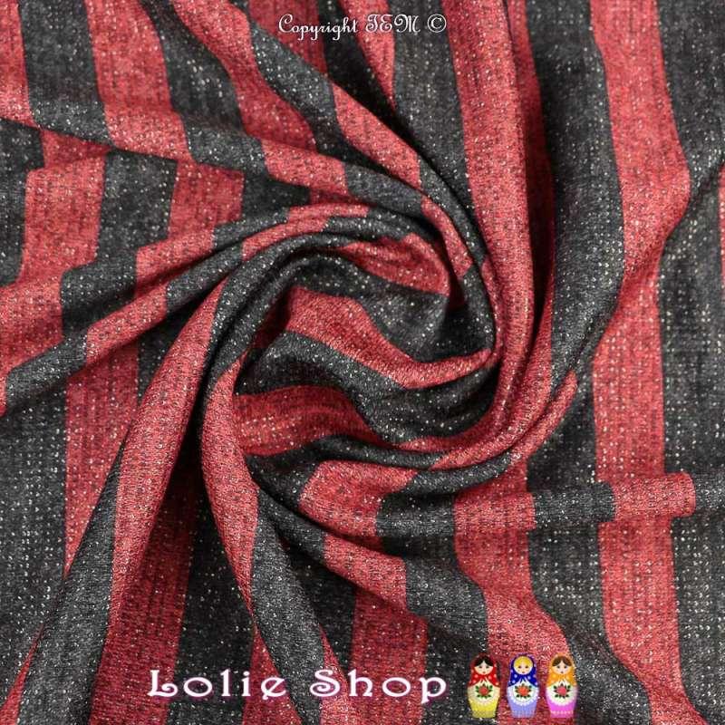 Jersey Sweat HARDY Chiné Lurex Argenté Bandes colorées Rouge/Noir