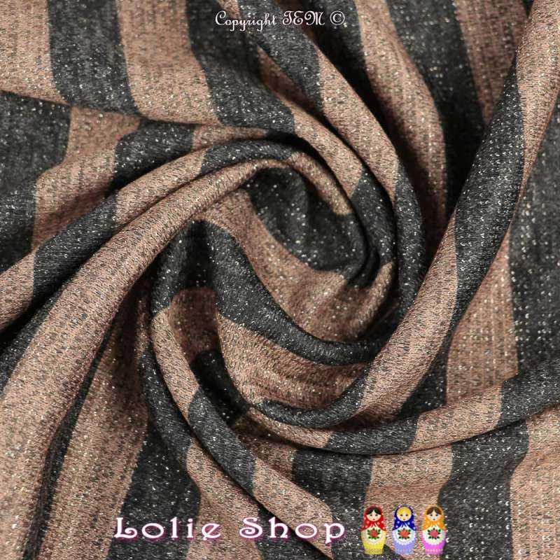 Jersey Sweat HARDY Chiné Lurex Argenté Bandes colorées Beige/Noir