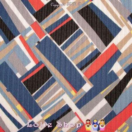 Maille Jersey Côte ARMELLE Motif Graphique Ton Bleu Indigo
