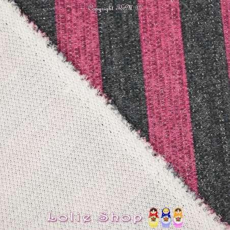 Jersey Sweat HARDY Chiné Lurex Argenté Bandes colorées Fuchsia/Noir