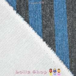 Jersey Sweat HARDY Chiné Lurex Argenté Bandes colorées Bleu/Noir