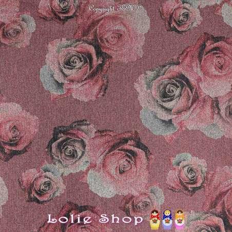 Jersey Sweat HARDY Chiné Lurex Argenté Imprimée Motif Roses Couleur Terracotta
