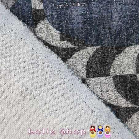 Jersey Sweat HARDY Chiné Lurex Imprimée Graphique Bleu Sur Fond Gris