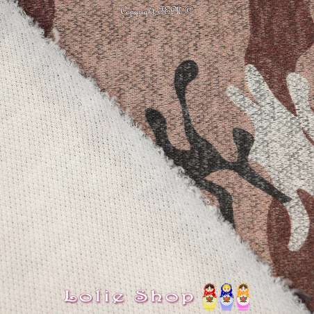 Jersey Sweat HARDY Chiné Imprimée Camouflage Militaire Ocre rouge
