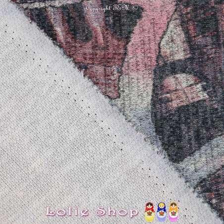 Jersey Sweat HARDY Chiné Lurex Argenté Imprimée Abstrait