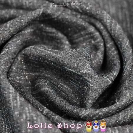 Jersey Sweat HARDY Chiné Lurex Rose Imprimée Ton Couleur Gris/Kaki