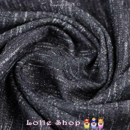 Jersey Sweat HARDY Chiné Lurex Rose Imprimée Ton Couleur Ardoise
