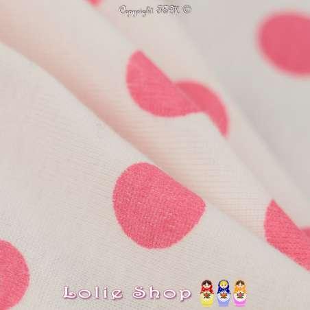 Jersey Coton Imprimé Motif Pois Rose Fuchsia Fond Blanc Cassé