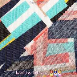 Maille Jersey Côte ARMELLE Motif Graphique Ton Turquoise