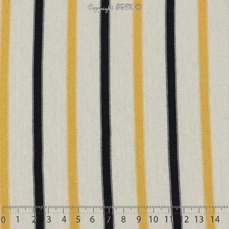 Jersey Coton Imprimé Rayures Motif Placé Fond Écru - Photo 15x15 Cm
