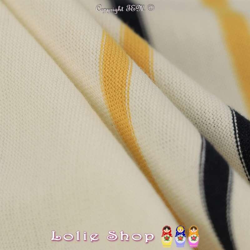 Jersey Coton Imprimé Rayures Motif Placé Fond Écru