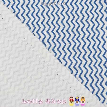 Jersey Coton Imprimé Motif Cranté Bleu Fond Blanc Cassé