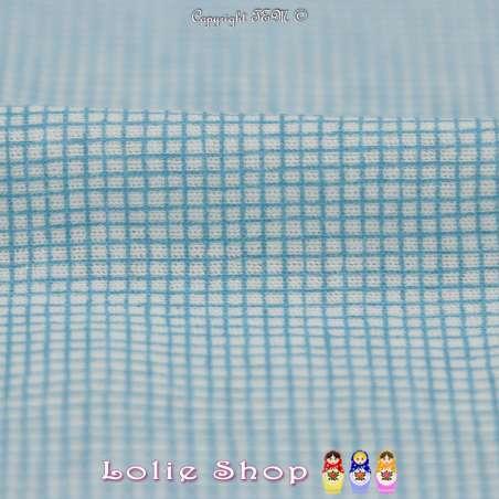 Jersey Coton Imprimé Motif Petits Carreaux Bleu Fond Blanc Cassé